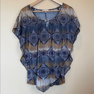 NWT Notations Brown and Black Layered Top Large